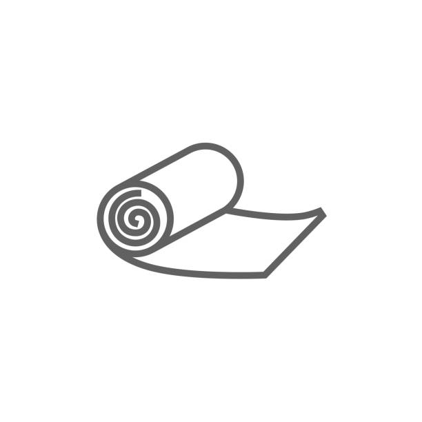Camping carpet line icon Camping carpet thick line icon with pointed corners and edges for web, mobile and infographics. Vector isolated icon. rolling stock illustrations