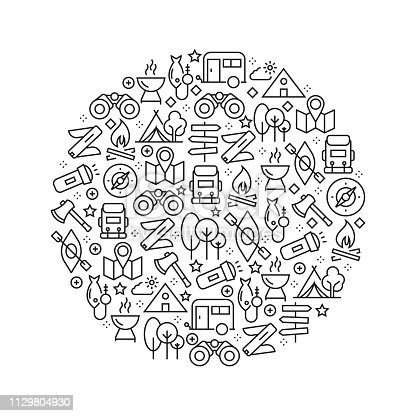 Camping Concept - Black and White Line Icons, Arranged in Circle