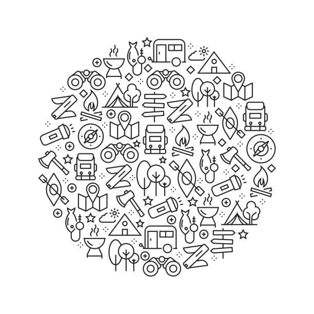 illustrazioni stock, clip art, cartoni animati e icone di tendenza di camping concept - black and white line icons, arranged in circle - sfondo vacanze e stagionali