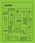 Camping Concept. Geometric Retro Style Banner and Poster Concept with Camping Line Icons