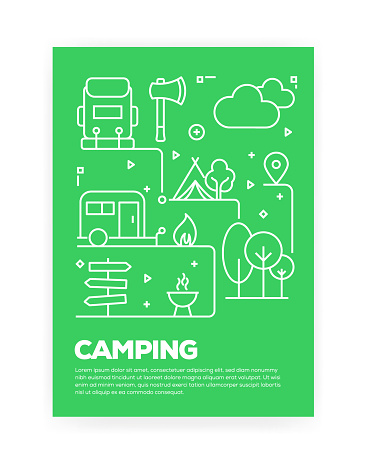 Camping Concept Line Style Cover Design for Annual Report, Flyer, Brochure.