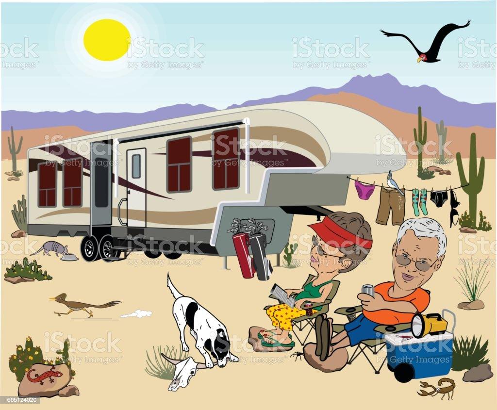 Camping Couple in Desert vector art illustration