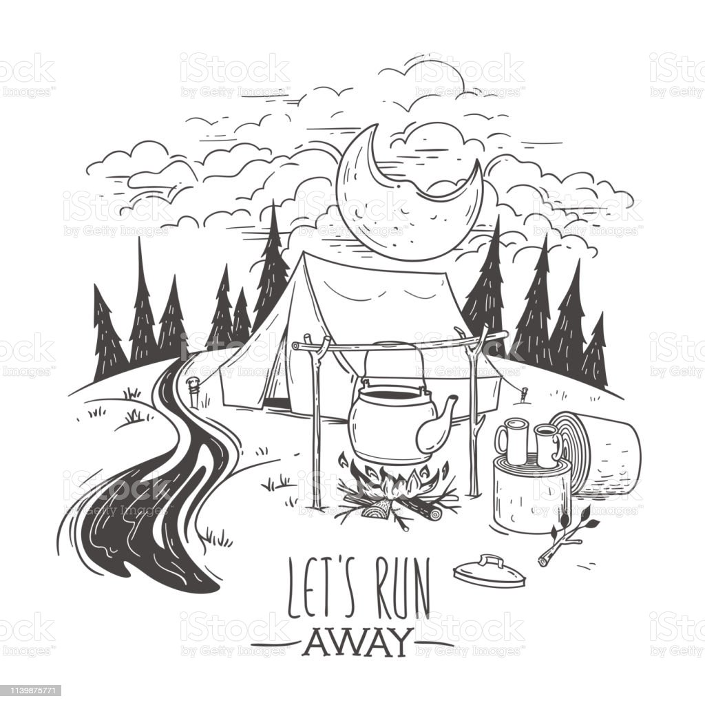 Doodle illustration on a camping with a tent. Night in forest view....