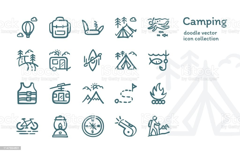 Camping doodle vector icon collection