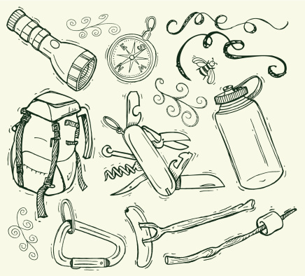 Camping Doodles with Backpack and Compass