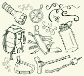 """Pen and ink doodles of camping items, backpack and compass. Compound paths. Color changes a snap. Use as positive image or reverse out. Ghost back or color it. Check out my """"Doodles"""" light box for more."""