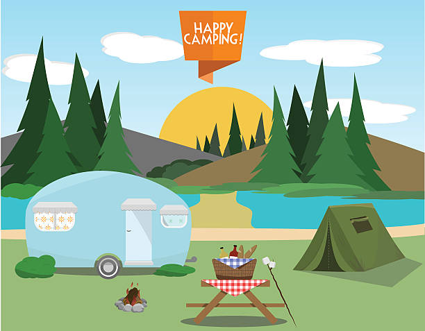 Camping Elements Set Celebrate the outside with these fun camping elements! Happy Camping flat sign included with the set. lakeshore stock illustrations
