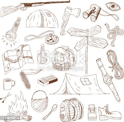 Camping Equipment Doodles Collection Stock Vector Art 153643674