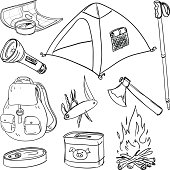 Camping equipment in black and white
