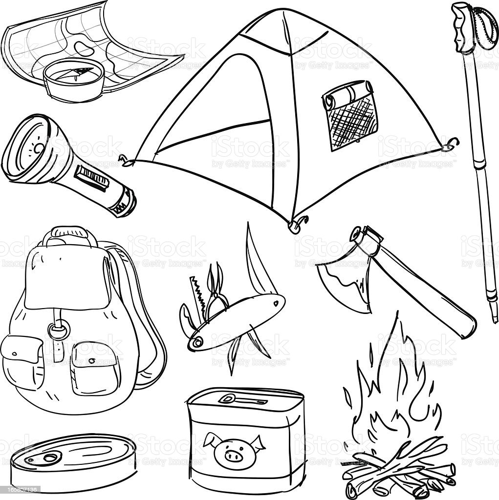 Camping equipment in black and white vector art illustration