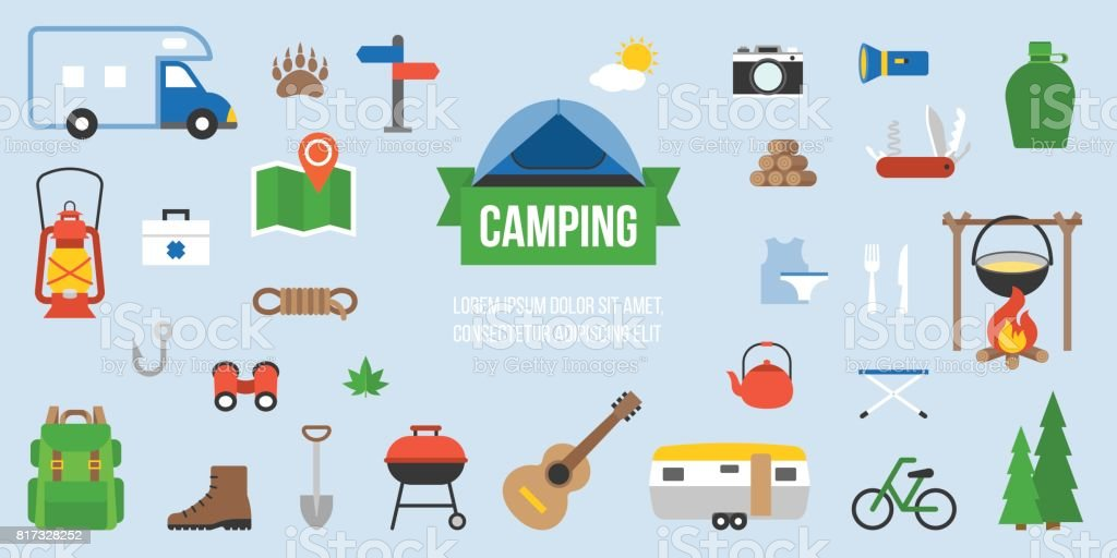 Camping equipment infographic vector art illustration