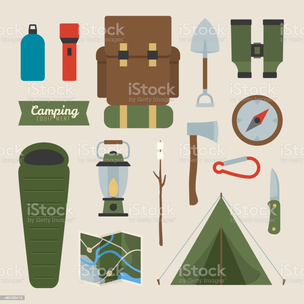Camping equipment vector art illustration