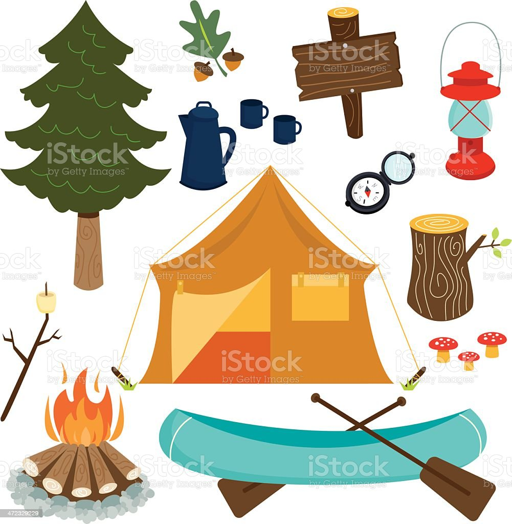 Camping Essentials vector art illustration