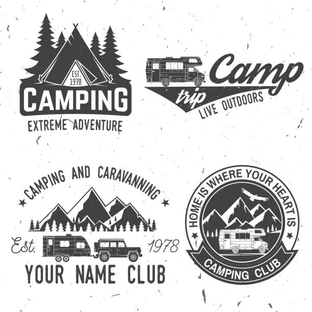 camping extreme adventure . vector illustration - wildlife travel stock illustrations, clip art, cartoons, & icons