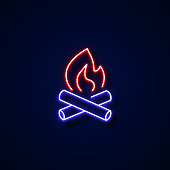 Camping Fire Icon Neon Style, Design Elements
