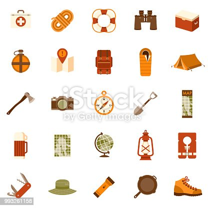 A set of 25 camping and outdoor adventure flat design icons on a transparent background. File is built in the CMYK color space for optimal printing. Color swatches are Global for quick and easy color changes.