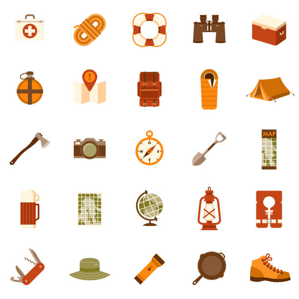 Camping Flat Design Icon Set A set of 25 camping and outdoor adventure flat design icons on a transparent background. File is built in the CMYK color space for optimal printing. Color swatches are Global for quick and easy color changes. adventure icons stock illustrations