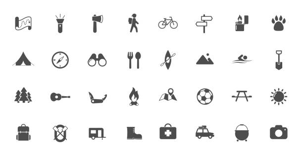 camping flat icons summer camping vector icons set isolated on white background. camping flat icons for web and ui design. summer camping recreation concept hiking stock illustrations