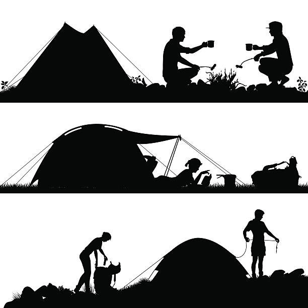 Camping foreground silhouettes vector art illustration
