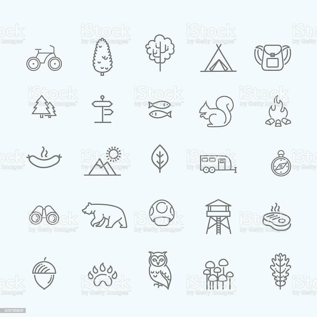 Campeggio, foresta, natura &  icone di attività all'aperto - illustrazione arte vettoriale