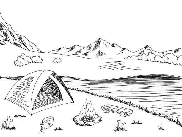Top 60 Mountain River Graphic Art Black White Landscape