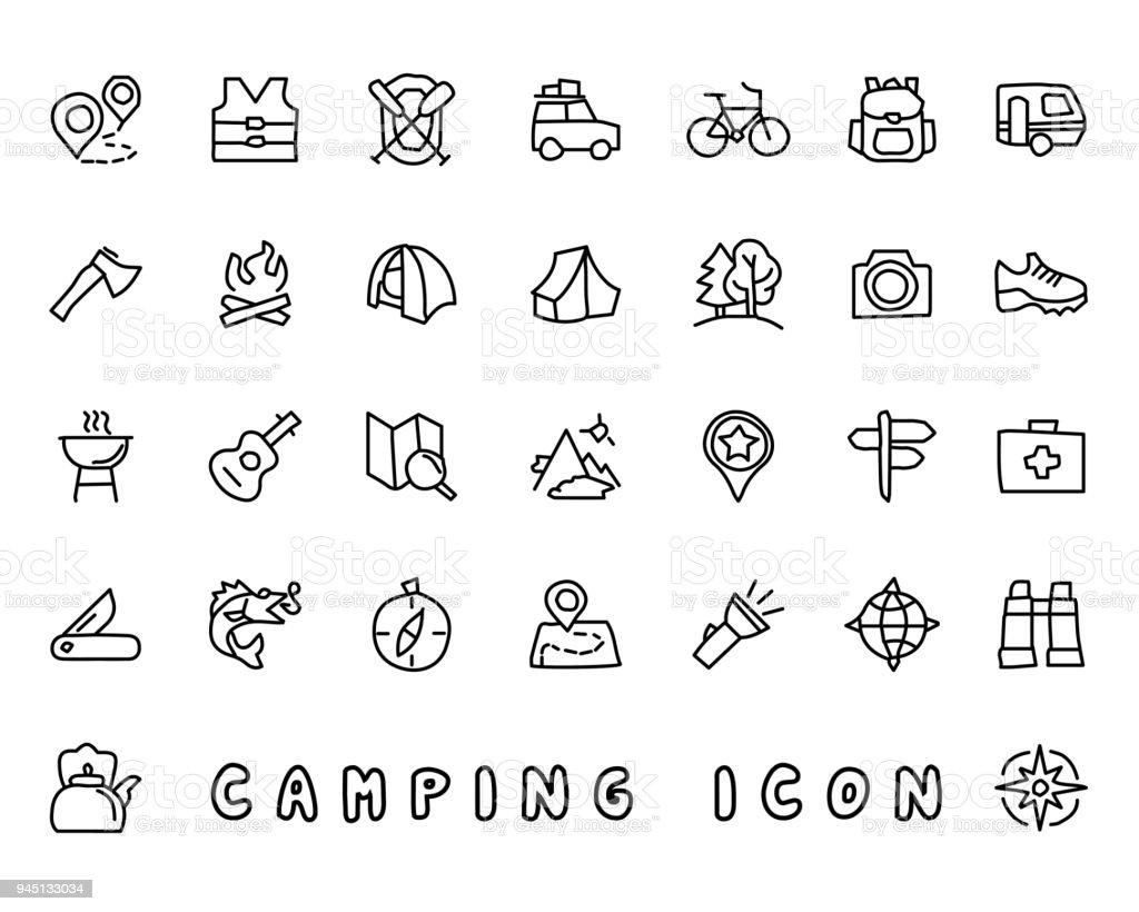 camping hand drawn icon design illustration, line style icon,...