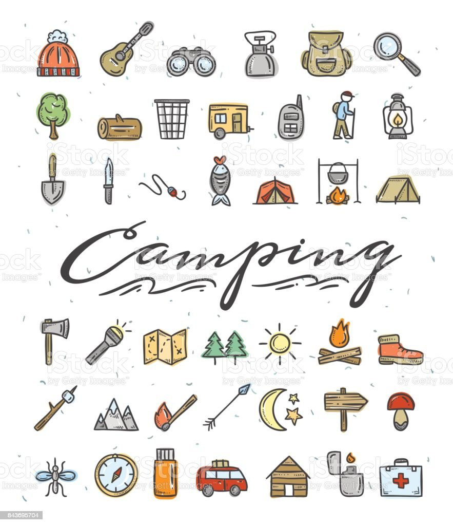 Camping hand drawn icons. Camping and picnic color doodle...