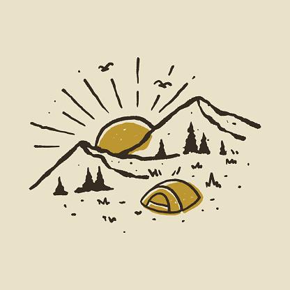 Camping Hiker climber Graphic Design Illustration Vector Art T-shirt Design