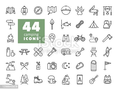 Camping, Hiking, Nature and Outdoor Activities icons set. Graph symbol for travel and tourism web site and apps design, logo, app, UI