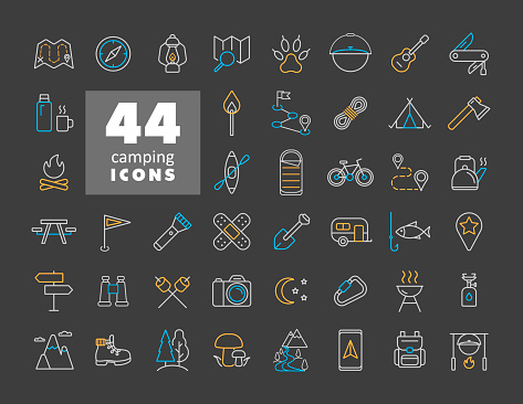Camping, Hiking and Outdoor Activities icons set