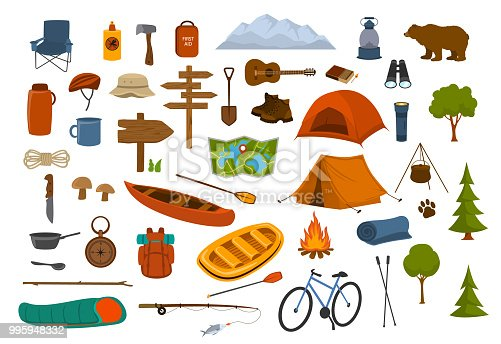 istock camping hiking gear and supplies graphics set 995948332