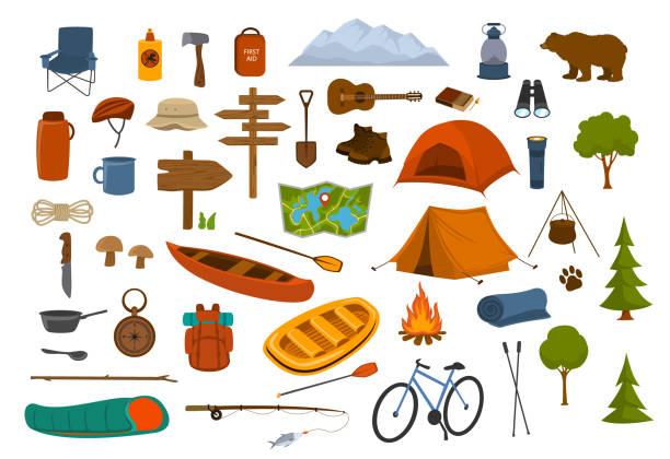 ilustrações, clipart, desenhos animados e ícones de o camping caminhadas da engrenagem e fornece o conjunto de gráficos - exterior