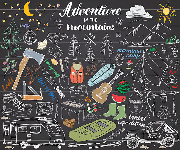 Camping, Hiking Hand Drawn sketch set vector illustration  on chalkboard vector art illustration