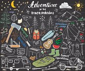 Camping, Hiking Hand Drawn sketch set vector illustration  on chalkboard