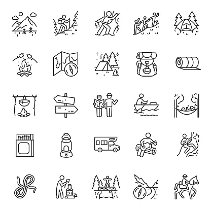 Camping, hiking, icon set. Outdoor leisure and overnight. Attributes for walking, backpacking, linear icons. Editable stroke