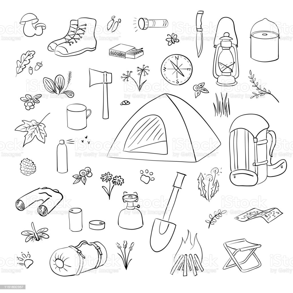 Camping Hiking icons sketch set. Camping equipment vector collection....