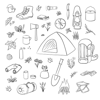 Camping Hiking icons sketch set. Camping equipment vector collection. Inc pen, Binoculars,