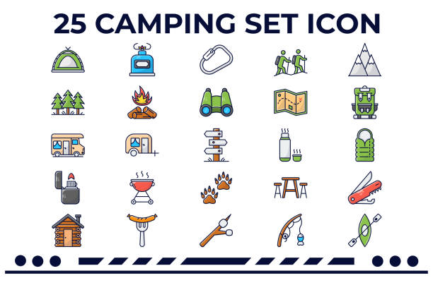 Camping Hiking & Outdoors This is an Icon Set about Camping,Outdoors,Hiking,Vacation,Holidays,Family,Nature and more. rv interior stock illustrations