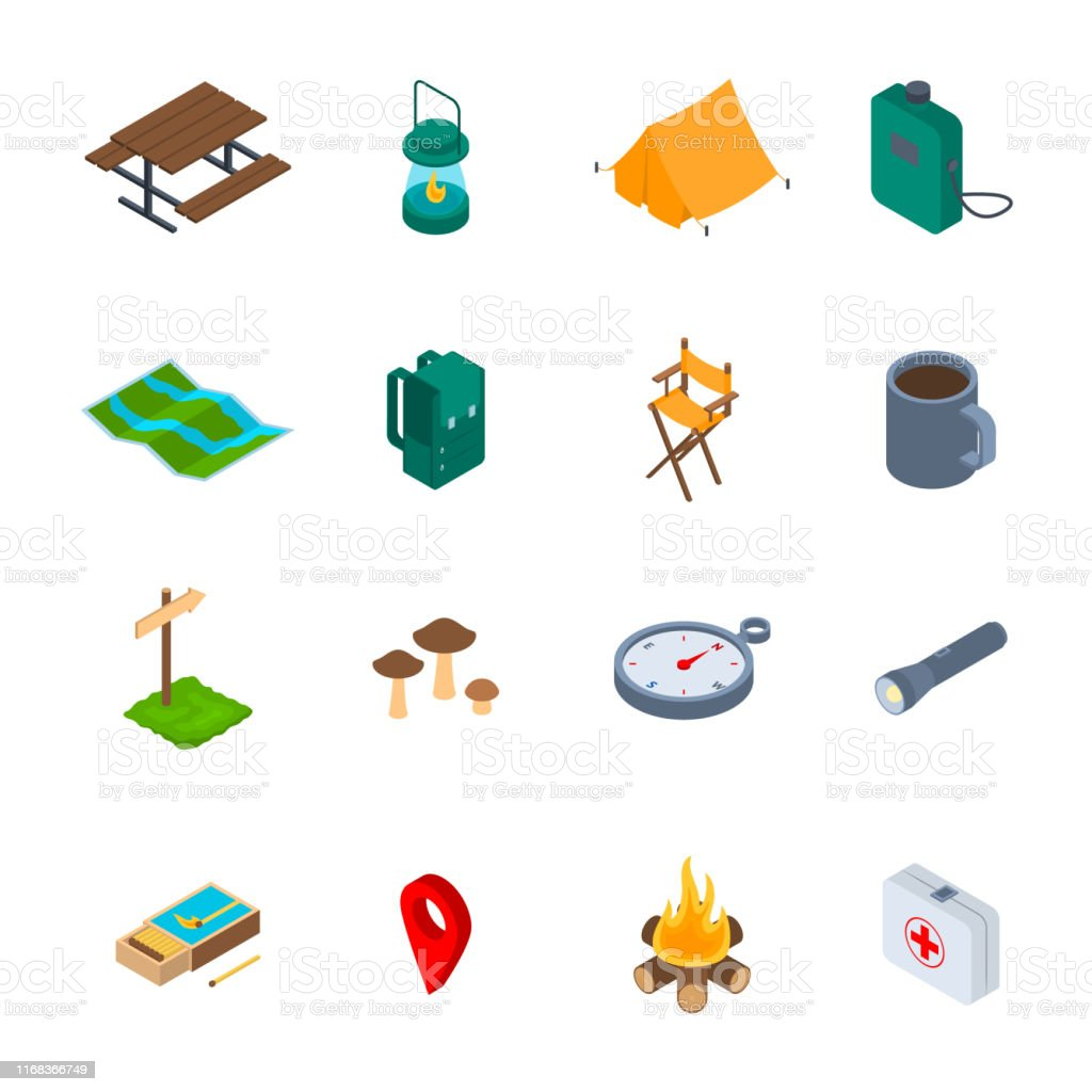 Camping Hiking Sign 3d Icon Set Isometric View Include of Tent,...