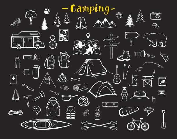 キャンプ、ハイキング、トレッキングの冒険道具機器アイテム落書きシルエット セット - キャンプ点のイラスト素材/クリップアート素材/マンガ素材/アイコン素材