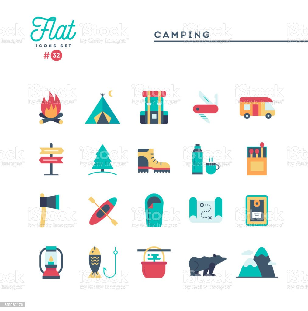 Camping, hiking, wilderness, adventure and more, flat icons set