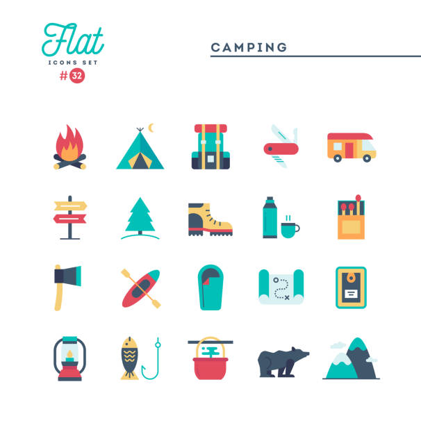 Camping, hiking, wilderness, adventure and more, flat icons set vector art illustration