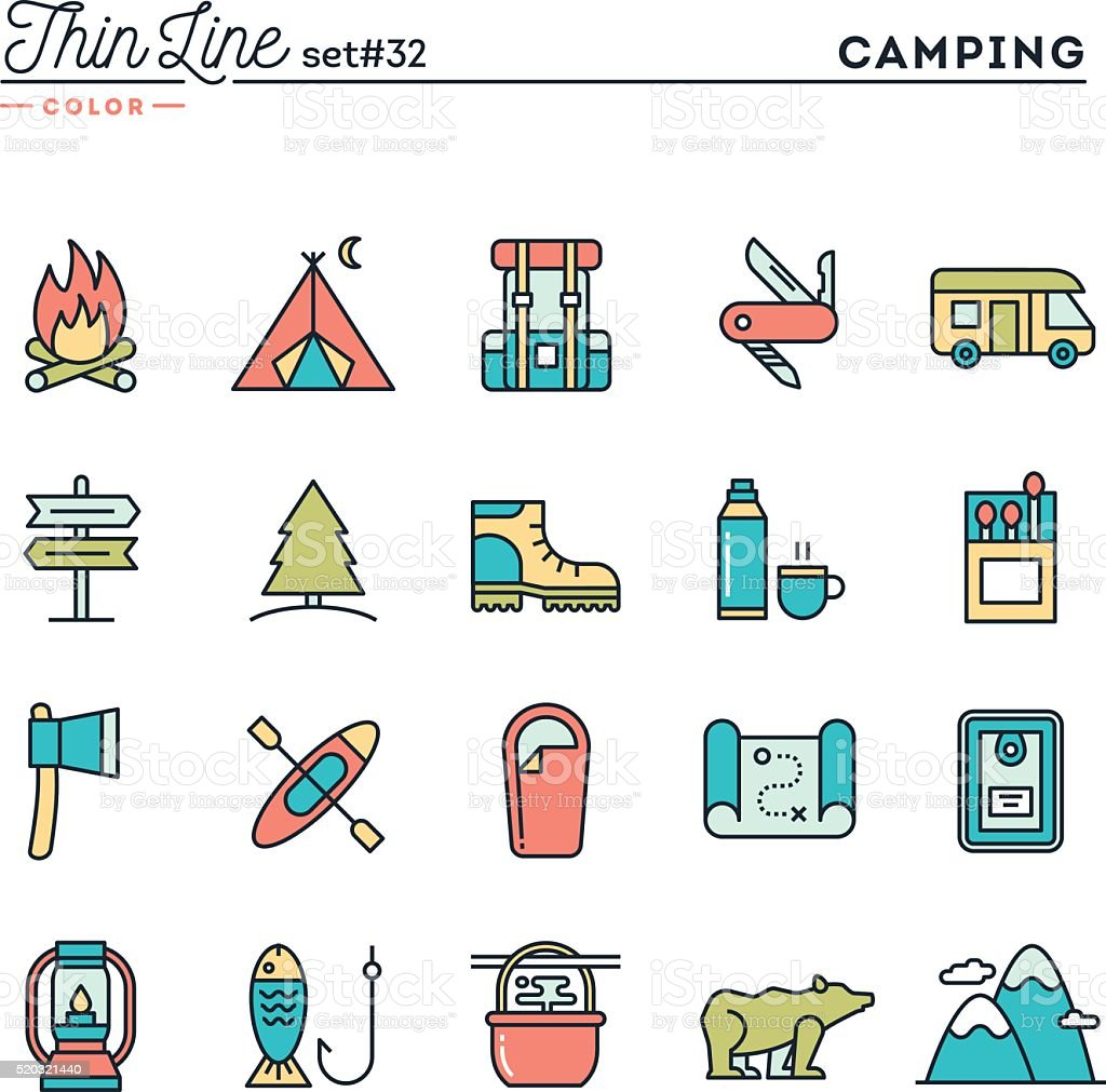 Camping, hiking, wilderness, adventure and more, thin line color icons vector art illustration
