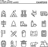 Camping, hiking, wilderness, adventure and more, thin line icons