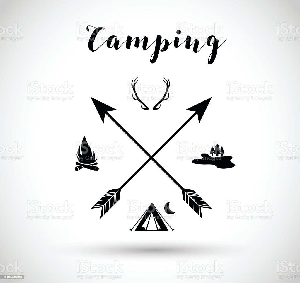 Camping, hunting sign vector illustration vector art illustration