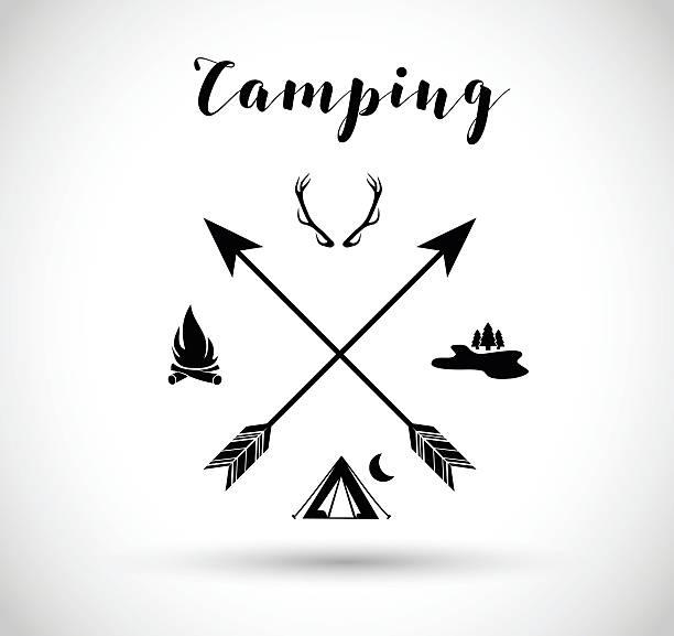 camping, hunting sign vector illustration - crossing stock illustrations, clip art, cartoons, & icons