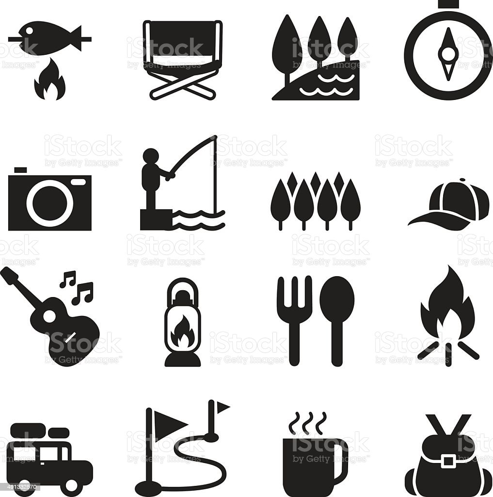Camping icon set 2 vector art illustration