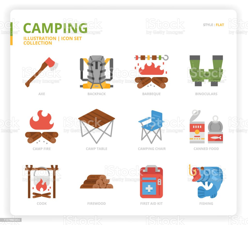 Camping icon set for web design, book, magazine, poster, ads, app,...