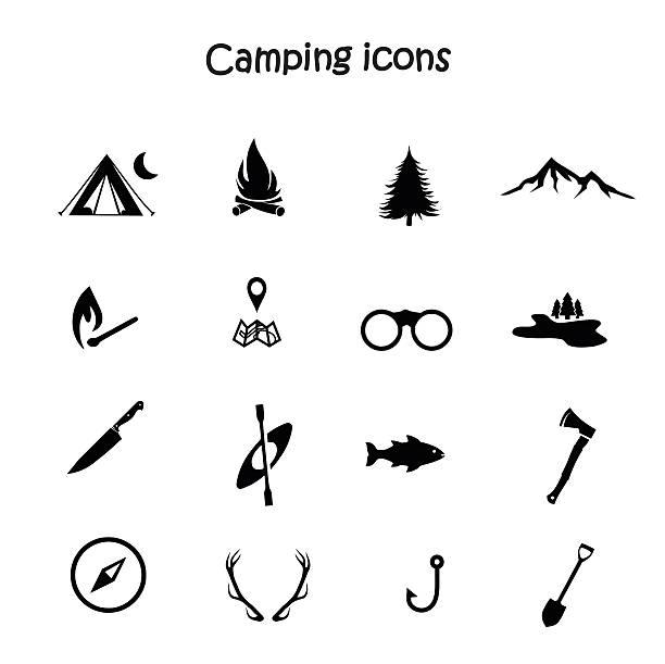 stockillustraties, clipart, cartoons en iconen met camping icon set vector - wildplassen