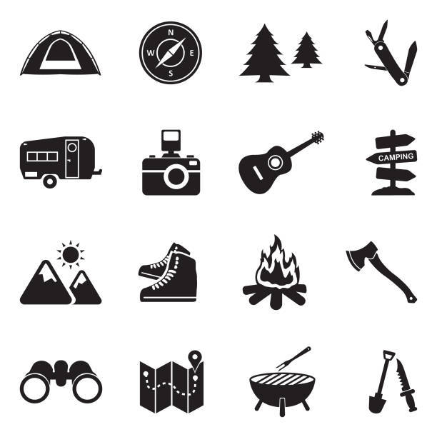 ilustrações de stock, clip art, desenhos animados e ícones de camping icons. black flat design. vector illustration. - camping